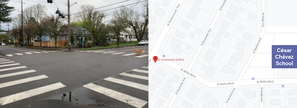 Left: an image of an intersection with marked zebra crosswalks at all four crossings. Right: A map showing Willis Blvd near the Cesar Chavez school.