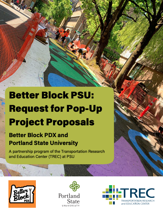 Colorful cover of the proposal document for Better Block PSU