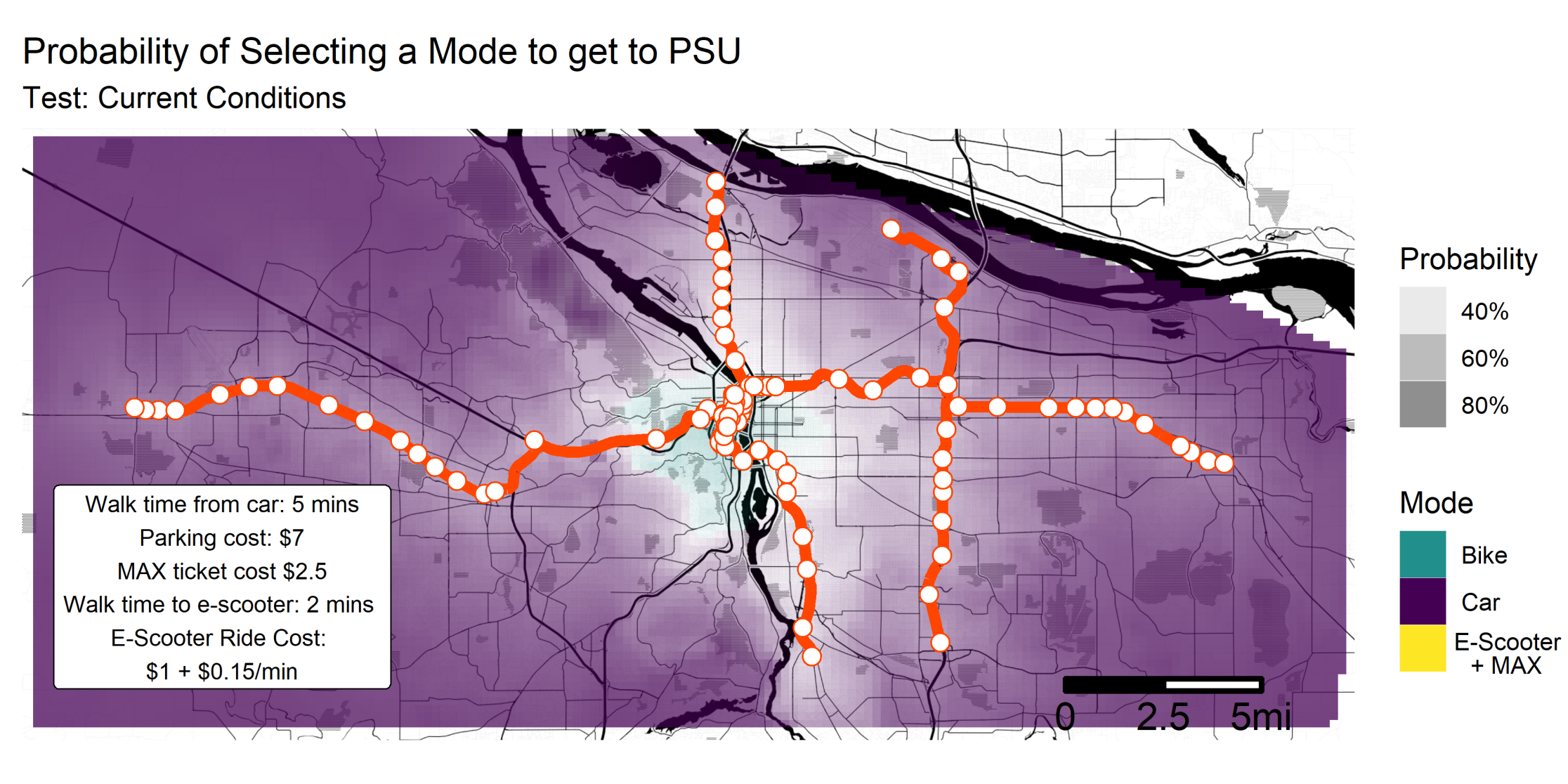 Probability of selecting a mode to get to PSU, under current conditions. This map shows that there is no place in the metro area where using e-scooter + MAX is the most preferable mode choice.