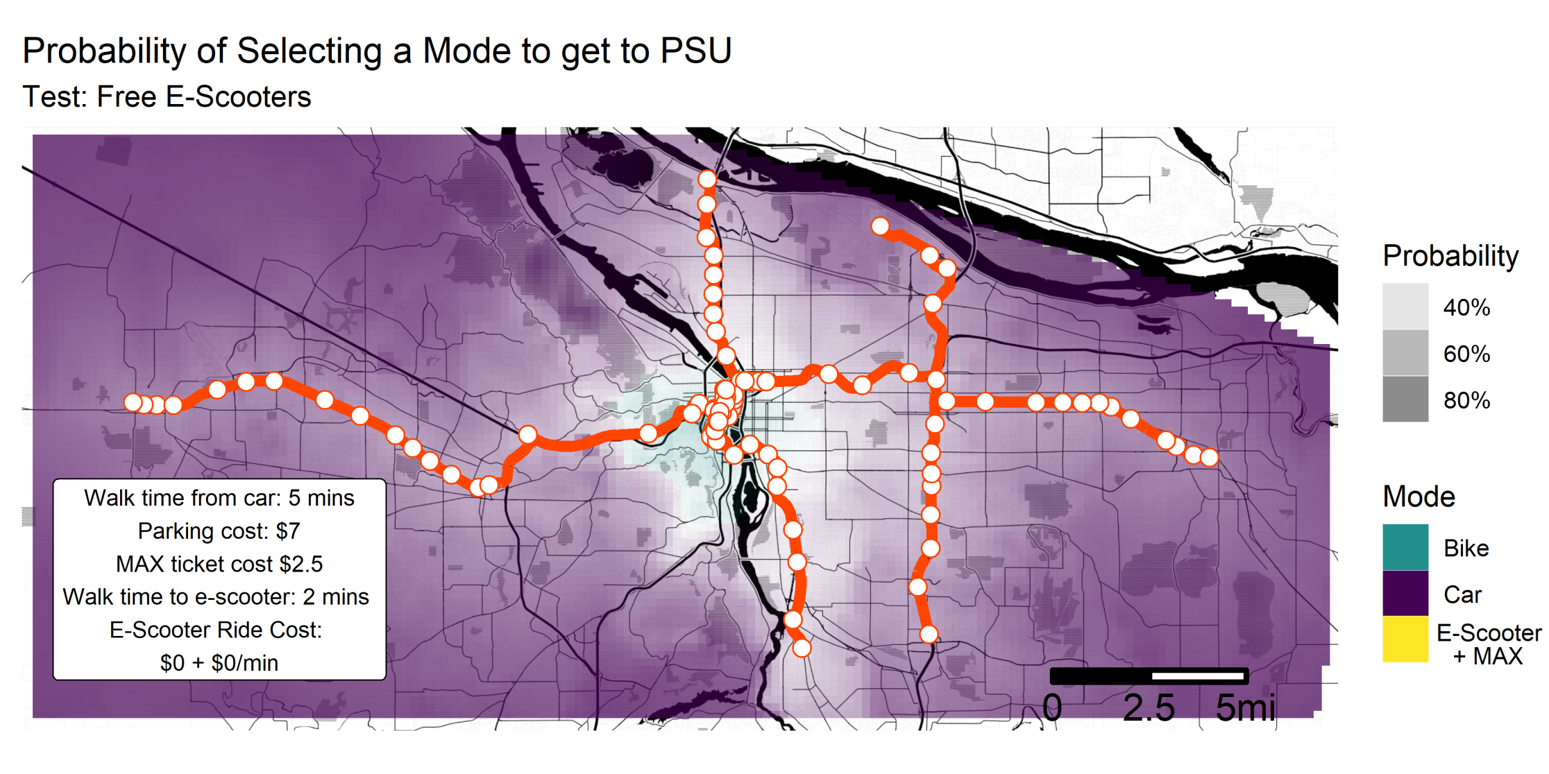 Probability of selecting a mode to get to PSU, if e-scooters were free. This map shows that there is still no place in the metro area where using e-scooter + MAX is the most preferable mode choice.