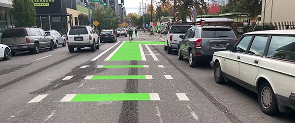 An intersection with a bike lane going through it