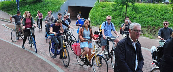 Students on bikes in the Netherlands