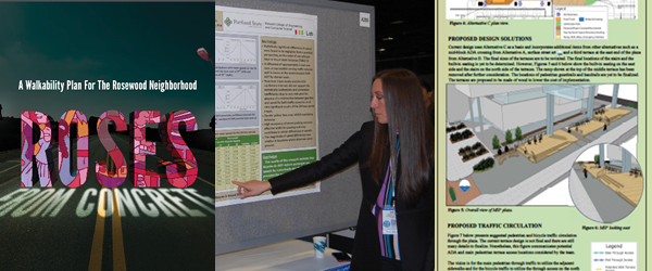 "Preview showing piece of ""roses from concrete"" cover, piece of montgomery poster, and a picture of Jaclyn Schaefer presenting her research poster at a conference."