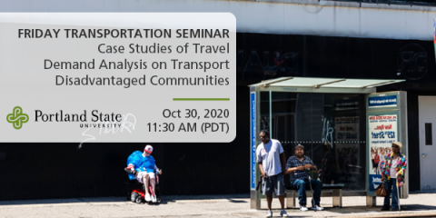 Image: Bus stop on a street with people waiting in Harlem, Manhattan, New York City, USA. Text reads: Friday Transportation Seminar Case Studies of Travel Demand Analysis on Transport Disadvantaged Communities