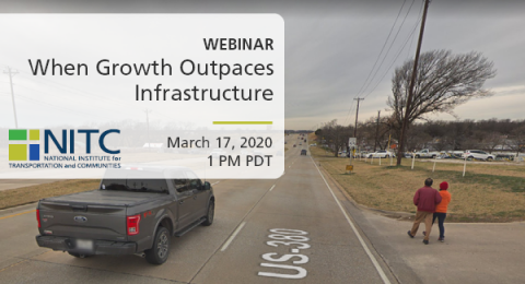 People walking with no sidewalk. Text: Webinar - When Growth Outpaces Infrastructure