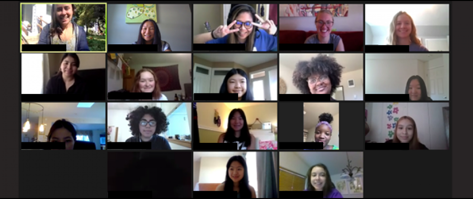 Screenshot from a Zoom session of the 2020 summer camp, showing the faces of participating students in a grid layout.